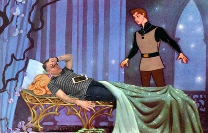 ceo fall sleep n photoshoped by employee