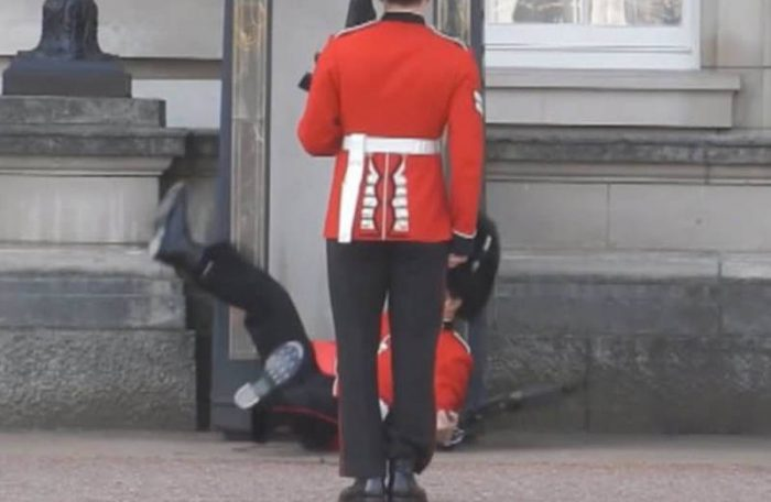 guard falling embarassing moment