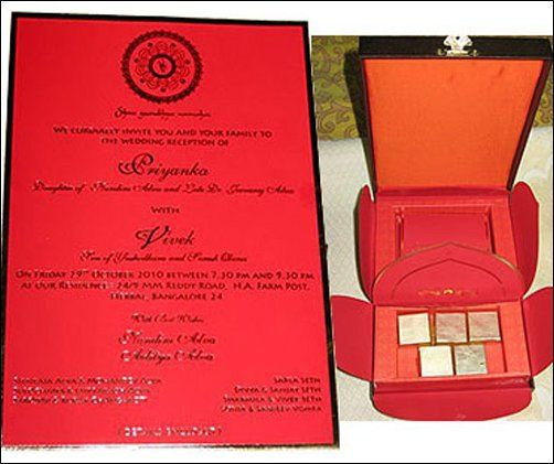 Vivek Oberoi and Priyanka Alva Oberoi Wedding Invitation