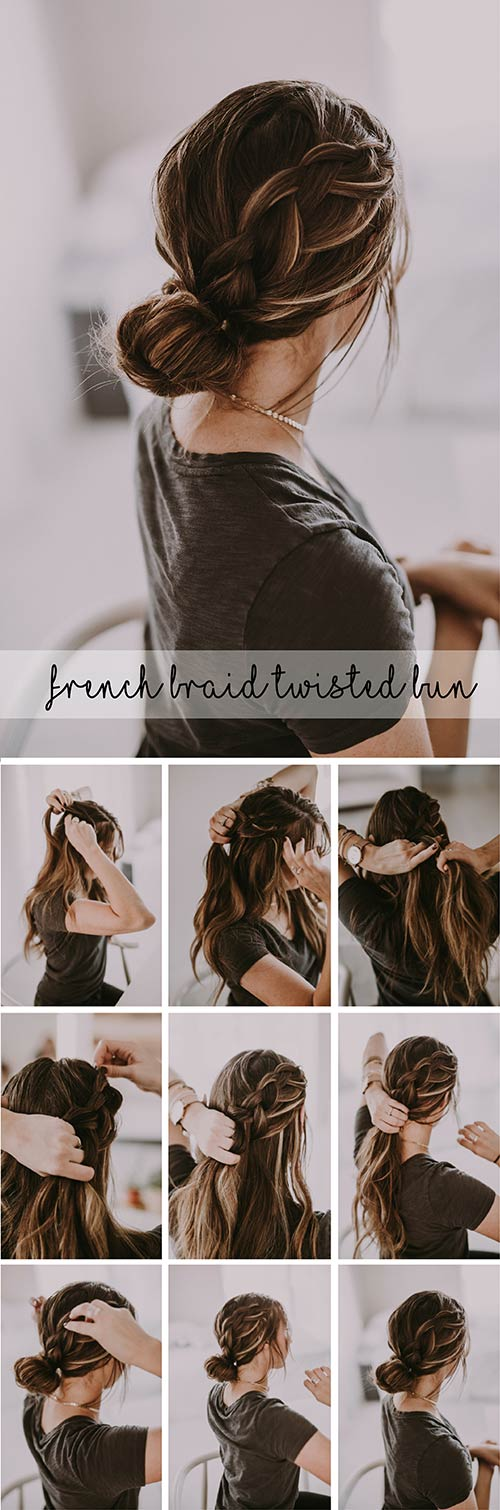 French-Braid-Twisted-Bun hairstyle