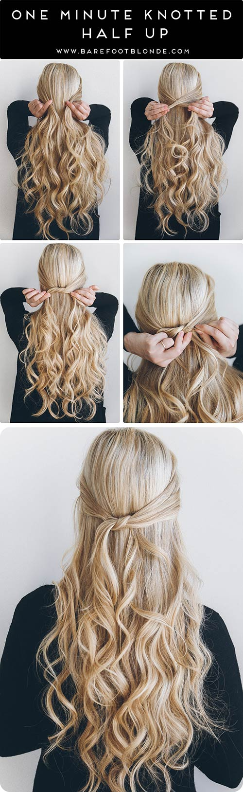 One-Minute-Knotted-Half-Up hairstyle