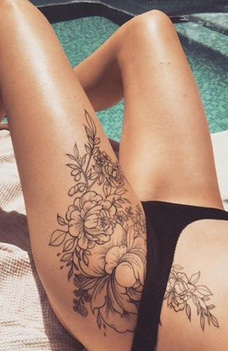 Front-Thigh-Tattoo for women
