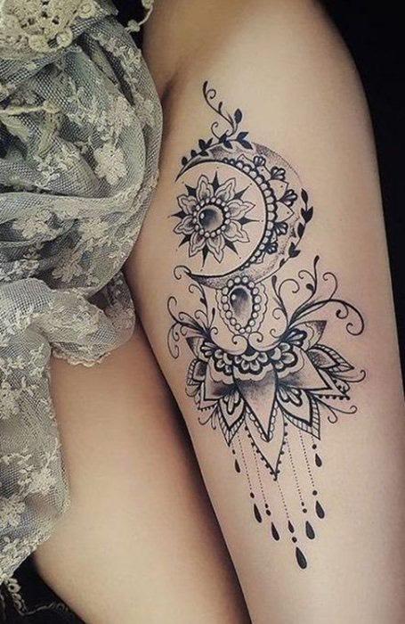 Henna Thigh Tattoo for women
