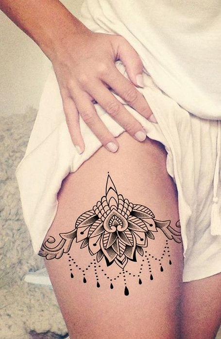 Mandala-Thigh Tattoo for women