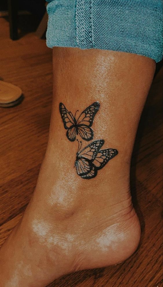 butterfly ankle tattoos for girls